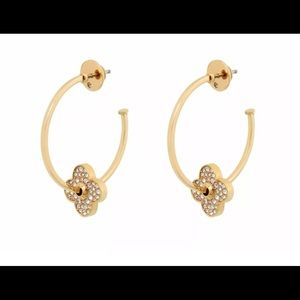 Henri Bendel 14K Gold Plated Pave Flower Earrings